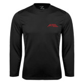 Performance Black Longsleeve Shirt-Official Logo - Stacked