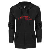 ENZA Ladies Black Light Weight Fleece Full Zip Hoodie-Official Logo - Stacked