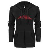 ENZA Ladies Black Light Weight Fleece Full Zip Hoodie-Official Logo - Stacked