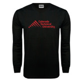 Black Long Sleeve TShirt-Official Logo - Stacked
