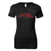 Next Level Ladies Junior Fit Black Burnout Tee-Official Logo - Stacked