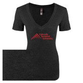 Next Level Ladies Vintage Black Tri Blend V-Neck Tee-Official Logo - Stacked