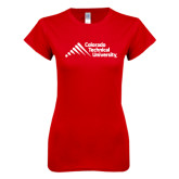 Next Level Ladies SoftStyle Junior Fitted Red Tee-Official Logo - Stacked