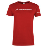 Ladies Red T Shirt-Official Logo - Flat