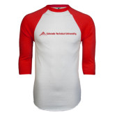 White/Red Raglan Baseball T-Shirt-Official Logo - Flat