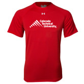 Under Armour Red Tech Tee-Official Logo - Stacked