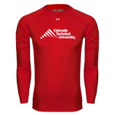 Under Armour Red Long Sleeve Tech Tee-Official Logo - Stacked