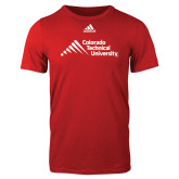 Adidas Red Logo T Shirt-Official Logo - Stacked