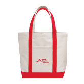 Contender White/Red Canvas Tote-Official Logo - Stacked