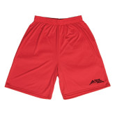 Syntrel Performance Red 9 Inch Length Shorts-Official Logo - Stacked