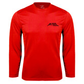 Performance Red Longsleeve Shirt-Official Logo - Stacked