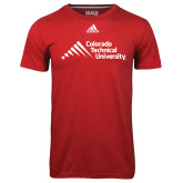 Adidas Climalite Red Ultimate Performance Tee-Official Logo - Stacked
