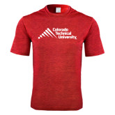 Performance Red Heather Contender Tee-Official Logo - Stacked