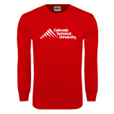 Red Long Sleeve T Shirt-Official Logo - Stacked