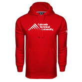 Under Armour Red Performance Sweats Team Hood-Official Logo - Stacked