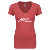 Next Level Ladies Vintage Red Tri Blend V-Neck Tee-Official Logo - Stacked