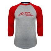 Grey/Red Raglan Baseball T Shirt-Official Logo - Stacked