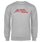 Grey Fleece Crew-Official Logo - Stacked