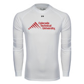 Under Armour White Long Sleeve Tech Tee-Official Logo - Stacked