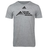 Adidas Sport Grey Logo T Shirt-Official Logo - Stacked