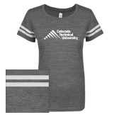 ENZA Ladies Dark Heather/White Vintage Triblend Football Tee-Official Logo - Stacked