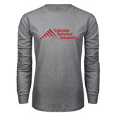 Grey Long Sleeve T Shirt-Official Logo - Stacked