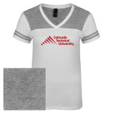 Ladies White/Heathered Nickel Juniors Varsity V Neck Tee-Official Logo - Stacked