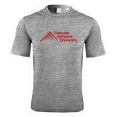 Performance Grey Heather Contender Tee-Official Logo - Stacked