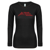 Ladies Black Long Sleeve V Neck T Shirt-Official Logo - Stacked
