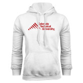 White Fleece Hood-Official Logo - Stacked