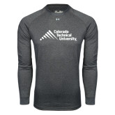 Under Armour Carbon Heather Long Sleeve Tech Tee-Official Logo - Stacked