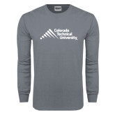 Charcoal Long Sleeve T Shirt-Official Logo - Stacked