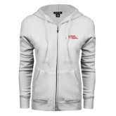 ENZA Ladies White Fleece Full Zip Hoodie-Official Logo - Stacked