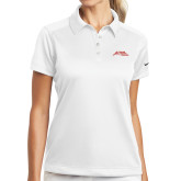 Ladies Nike Dri Fit White Pebble Texture Sport Shirt-Official Logo - Stacked