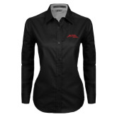 Ladies Black Twill Button Down Long Sleeve-Official Logo - Stacked