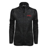 Black Heather Ladies Fleece Jacket-Official Logo - Stacked