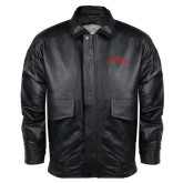 Black Leather Bomber Jacket-Official Logo - Stacked