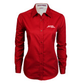 Ladies Red Twill Button Down Long Sleeve-Official Logo - Stacked