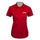 Ladies Red Twill Button Up Short Sleeve-Official Logo - Stacked