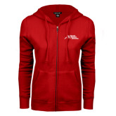 ENZA Ladies Red Fleece Full Zip Hoodie-Official Logo - Stacked