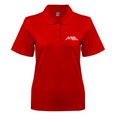Ladies Easycare Red Pique Polo-Official Logo - Stacked
