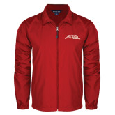 Full Zip Red Wind Jacket-Official Logo - Stacked