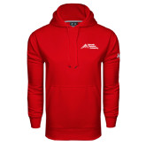 Under Armour Red Performance Sweats Team Hoodie-Official Logo - Stacked