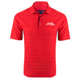 Red Horizontal Textured Polo-Official Logo - Stacked