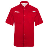 Columbia Tamiami Performance Red Short Sleeve Shirt-Official Logo - Stacked