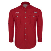 Columbia Bahama II Red Long Sleeve Shirt-Official Logo - Stacked