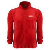 Fleece Full Zip Red Jacket-Official Logo - Stacked
