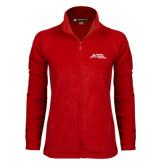 Ladies Fleece Full Zip Red Jacket-Official Logo - Stacked