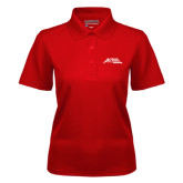Ladies Red Dry Mesh Polo-Official Logo - Stacked