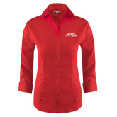 Ladies Red House Red 3/4 Sleeve Shirt-Official Logo - Stacked